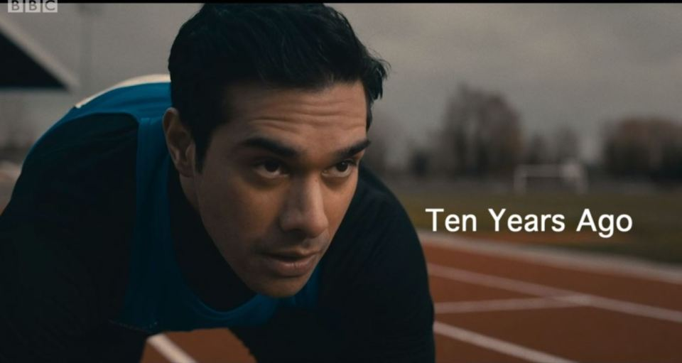 The opening scene featured teenage Rash on a track