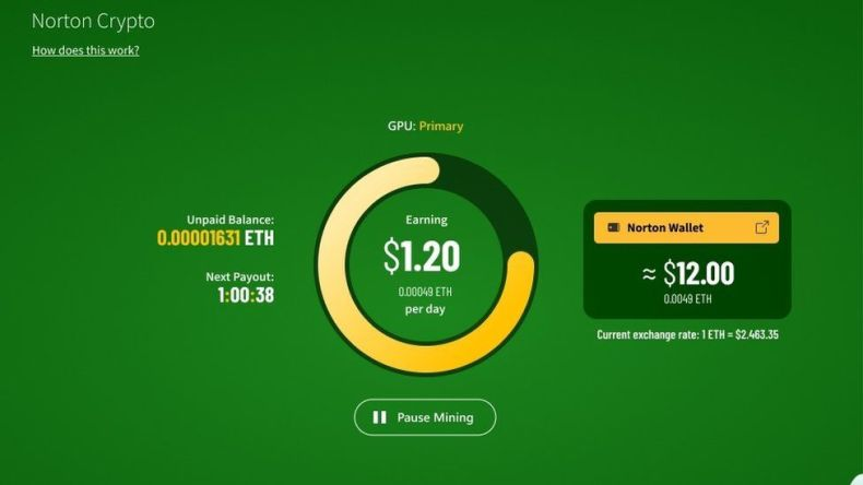 A screenshot first provided by Norton Crypto shows what their mining software  interface will look like