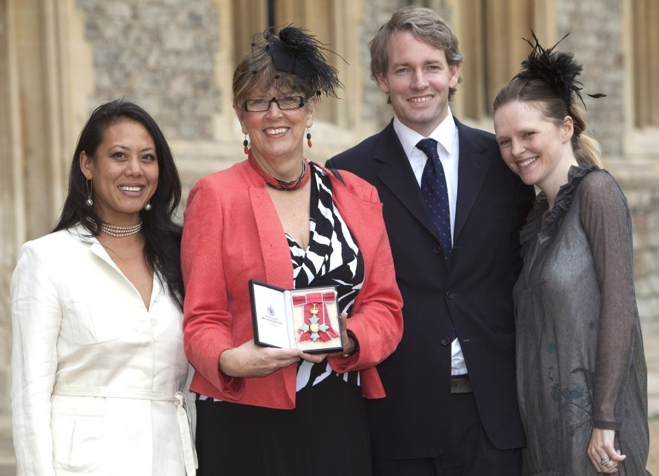 The TV chef with son Daniel Kruger, daughter Li-Da (left) and daughter-in-law Emma Kruger during her CBE investiture in 2010