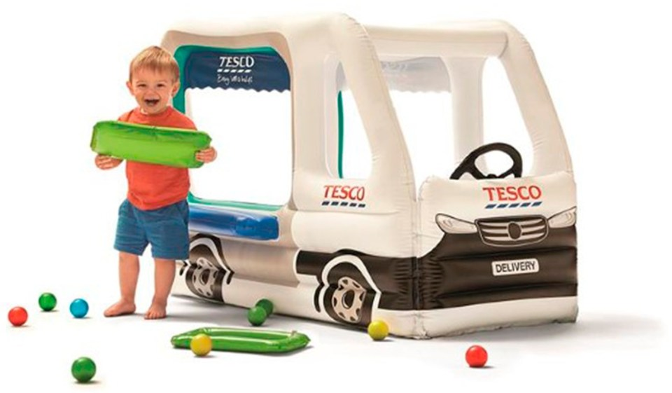 The inflatable Tesco delivery van can be used as a paddling pool or ball pit