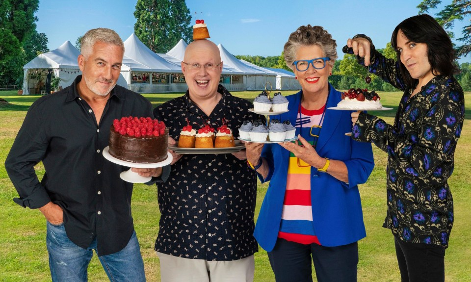 Prue Leith with Bake Off co-stars Paul Hollywood, Matt Lucas and Noel Fielding