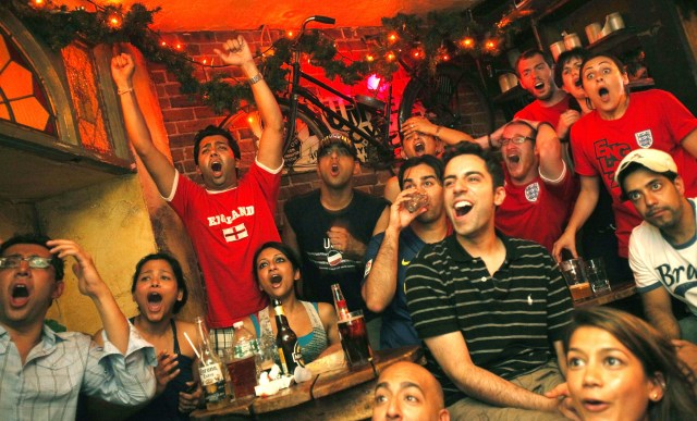Current restrictions mean chanting and cheering are banned in pubs