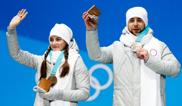 OAR athletes dressed in grey sweatsuits for Olympic ceremony at the 2018 Winter Olympic games in Pyeongchang