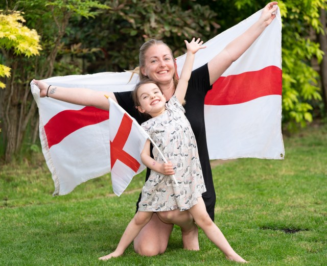 Nurse Jessica Gill and daughter Margot, three, are flying the flag for the Three Lions