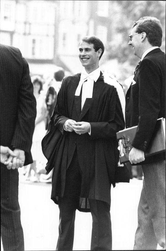 He graduated from university in 1986, before heading off to join the Royal Marines. Pictured: Edward receiving his degree at his graduation
