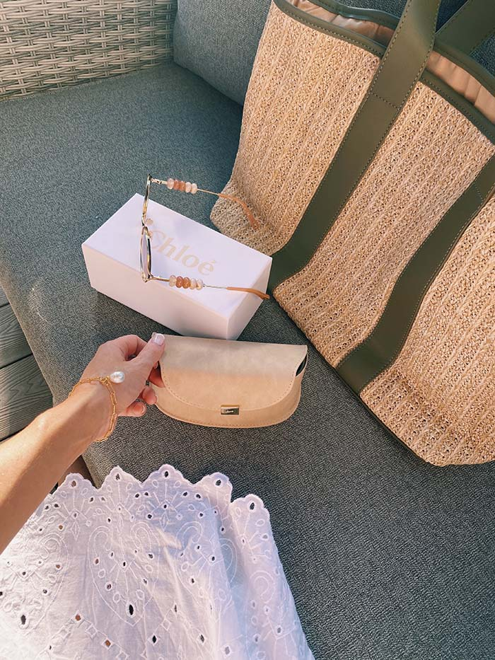 These Chloé round frame beaded sunglasses were £190 though MyBag, while the French Connection woven beach tote bag was just £30 on Asos