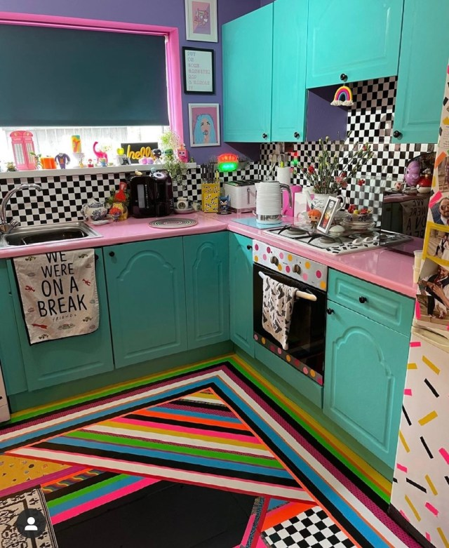 The bright colours span every room of the house