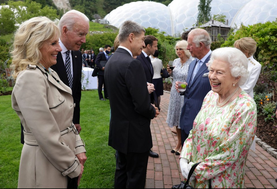 The monarch, 95, chatted away with world leaders at the G7 Summit in Cornwall earlier this month