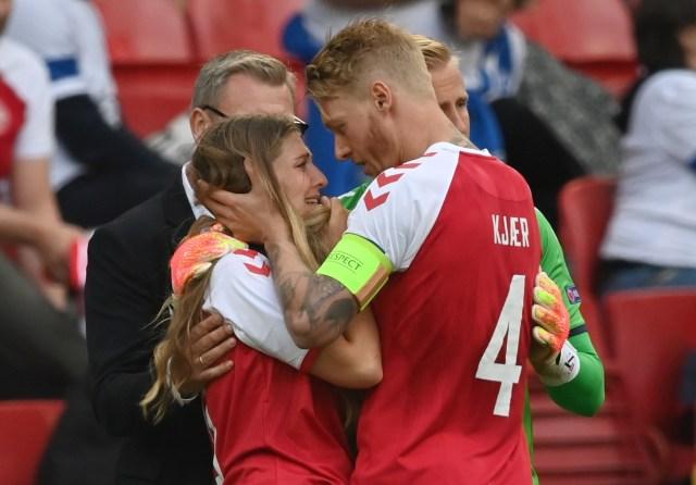 Kjaer supported Eriksen's partner during the distressing scenes at Euro 2020