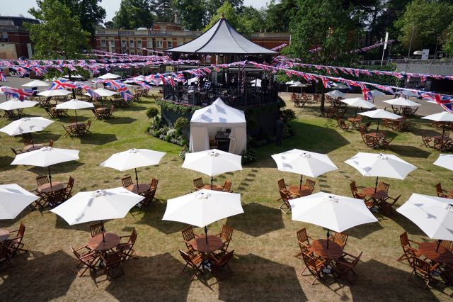A general view of table settings ahead of day one of Royal Ascot at Ascot Racecourse