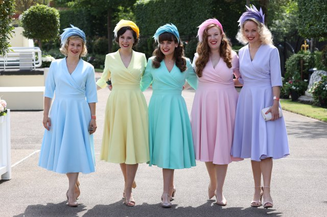 Girlband The Tootsie Rollers arrive ahead of day one of Royal Ascot at Ascot Racecourse