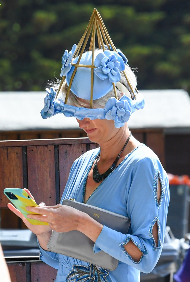 This blue headpiece appeared to resemble a garden trellis, but the racegoer managed to pull it off with style