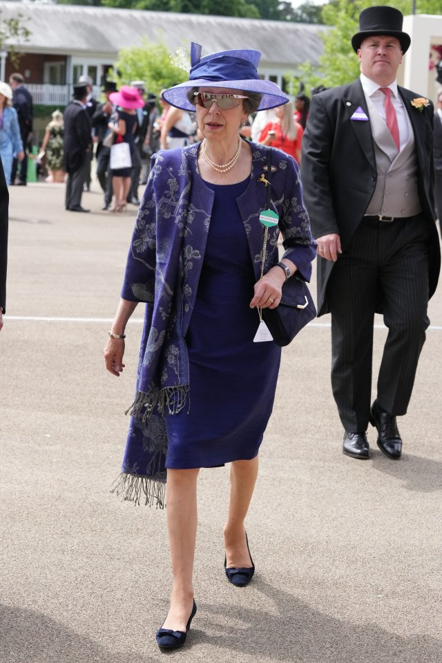 Princess Anne looked bold in blue as she arrived without her mother