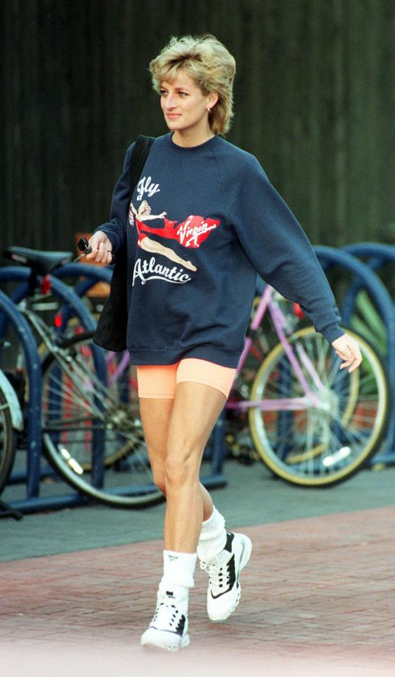 Cycling shorts have become a fashion staple today, and Diana was a fan of them too