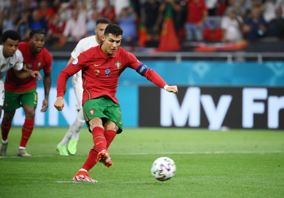 Cristiano Ronaldo scored two penalties in Portugal's 2-2 draw against France