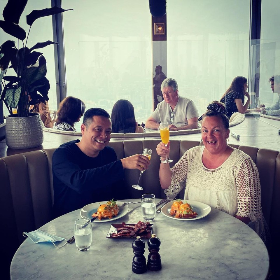 Lorraine Stanley enjoyed a birthday brunch with partner Mark Perez today