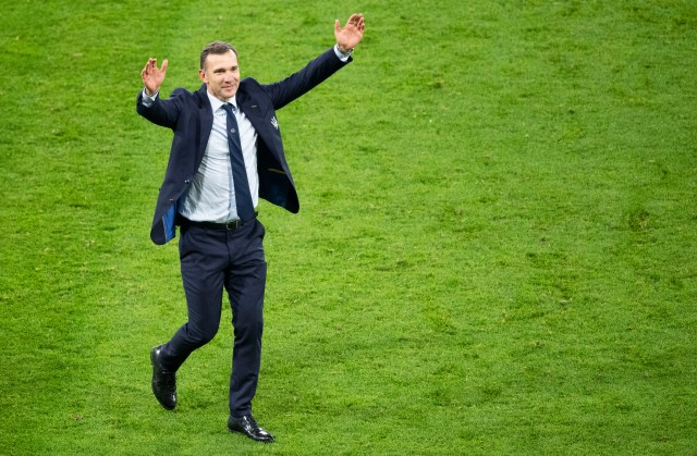Ukraine's manager Andriy Shevchenko beats Southgate in the fashion stakes