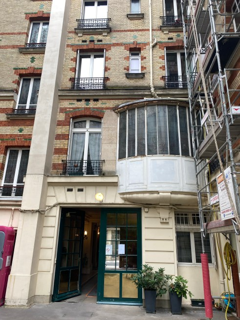 This is the front of the Paris apartment block the police claim Jim died in