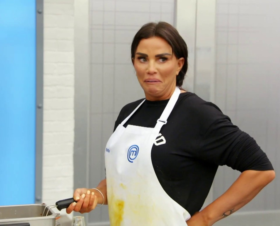 Katie Price looks like she's made a major mishap in the Celebrity Masterchef kitchen