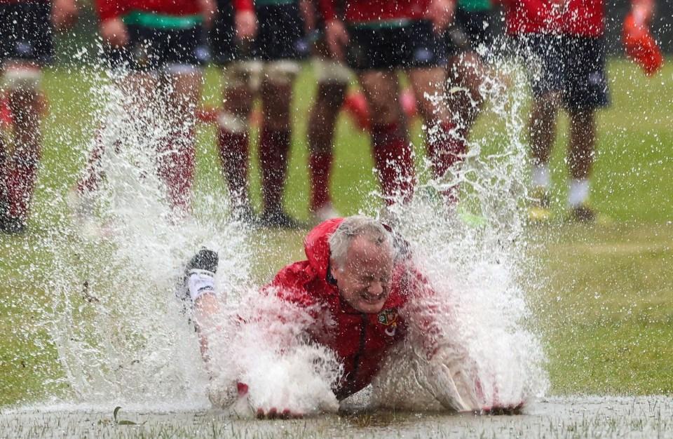 Fitness coach Bobby Stridgeon goes for a swim
