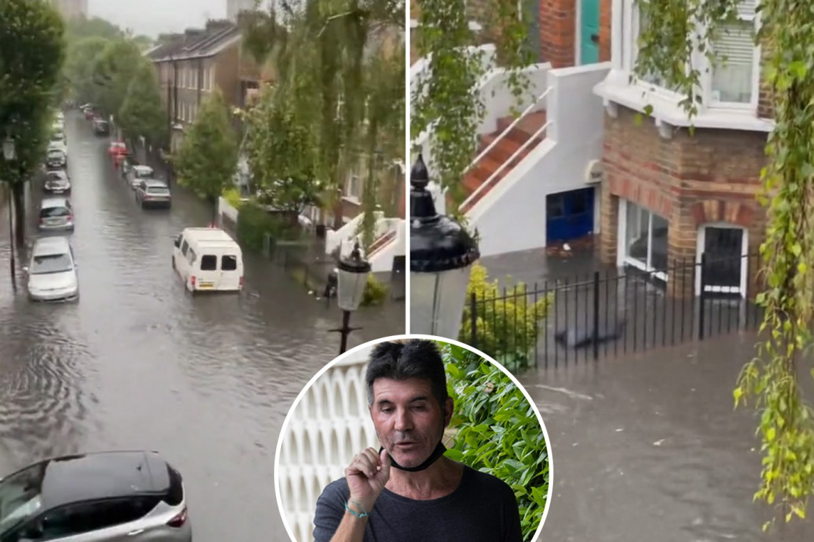 Simon Cowell claims his £15m mansion 'nearly floated away' after flash  floods engulfed London homes