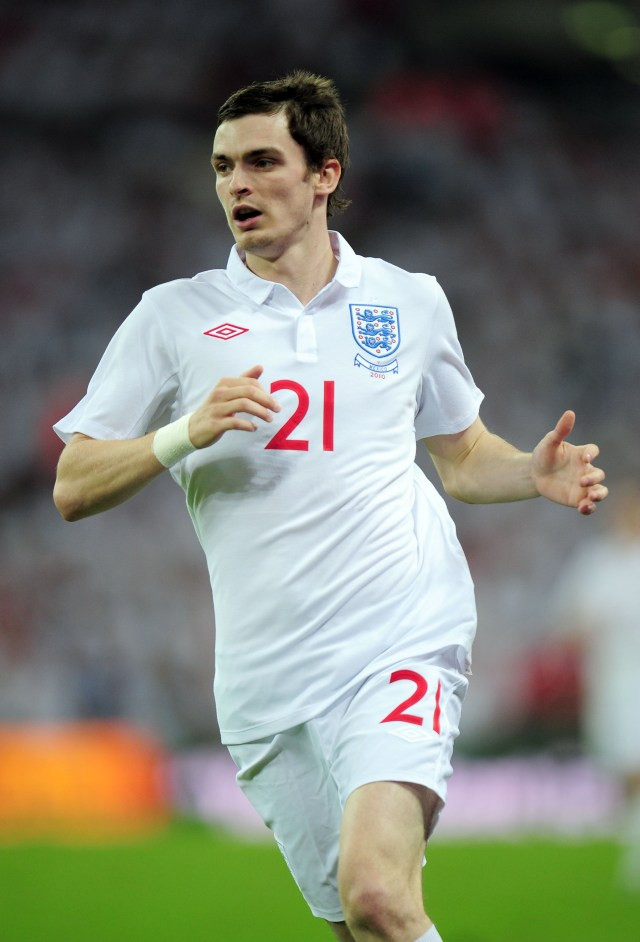 Adam Johnson during a friendly match between England and Mexico in 2010