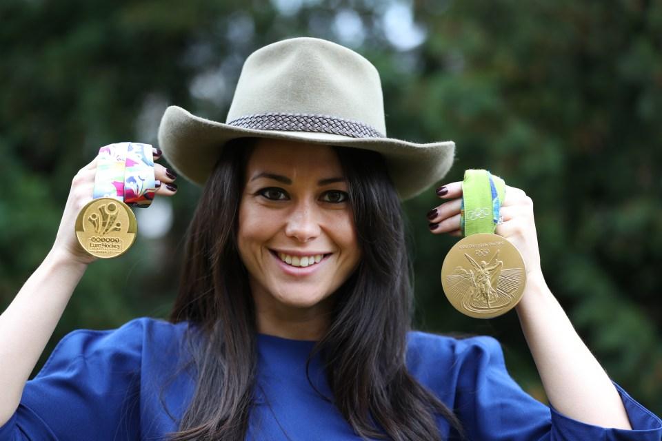 Quek shows off her gold medals won from the European Championships and Olympics