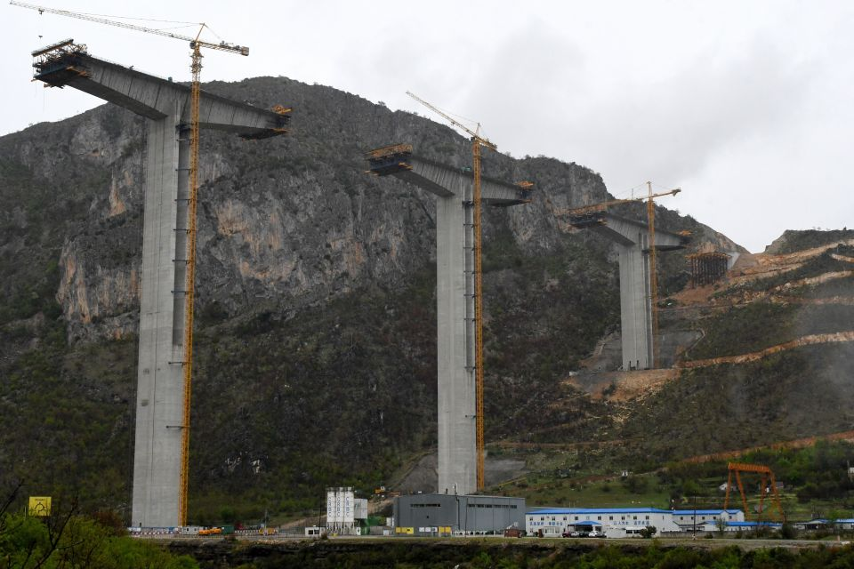 The bridge section of the unfinished highway in Montenegro