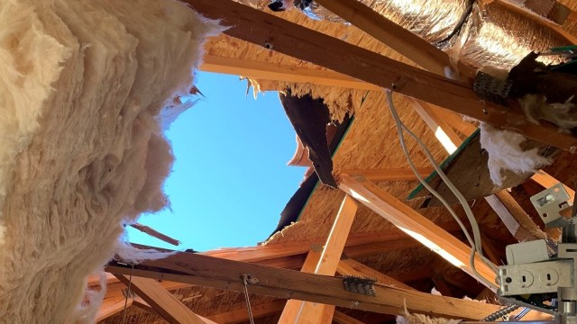 The impact punched a gaping hole in the red-tiled roof of a bungalow on the outskirts of Atascadero