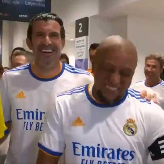Luis Figo was instantly forgiven for his prank by Real Madrid pal Roberto Carlos as the pair burst into laughter