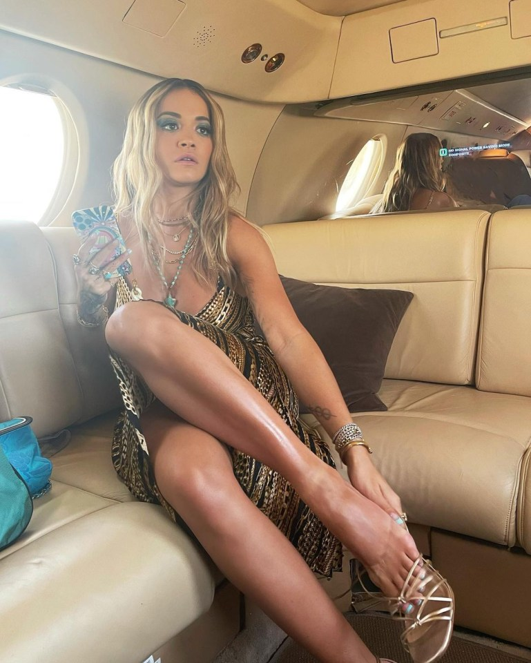 Rita could be seen kicking back on the private jet