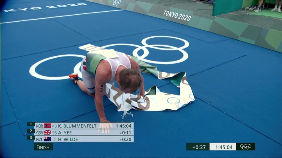 Blummenfelt threw up not long after crossing the finish line