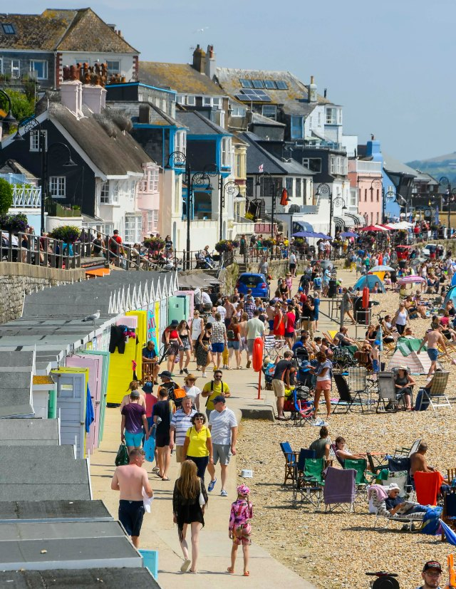 Busy seafront in Dorset today