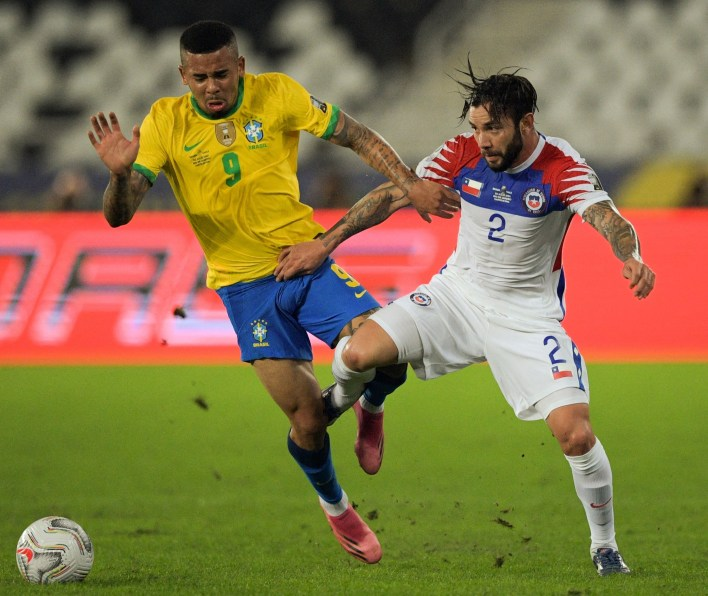 Jesus and Mena battled away for their 48 minutes on the pitch together