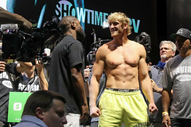 Logan Paul at his weigh in before fighting Floyd Mayweather