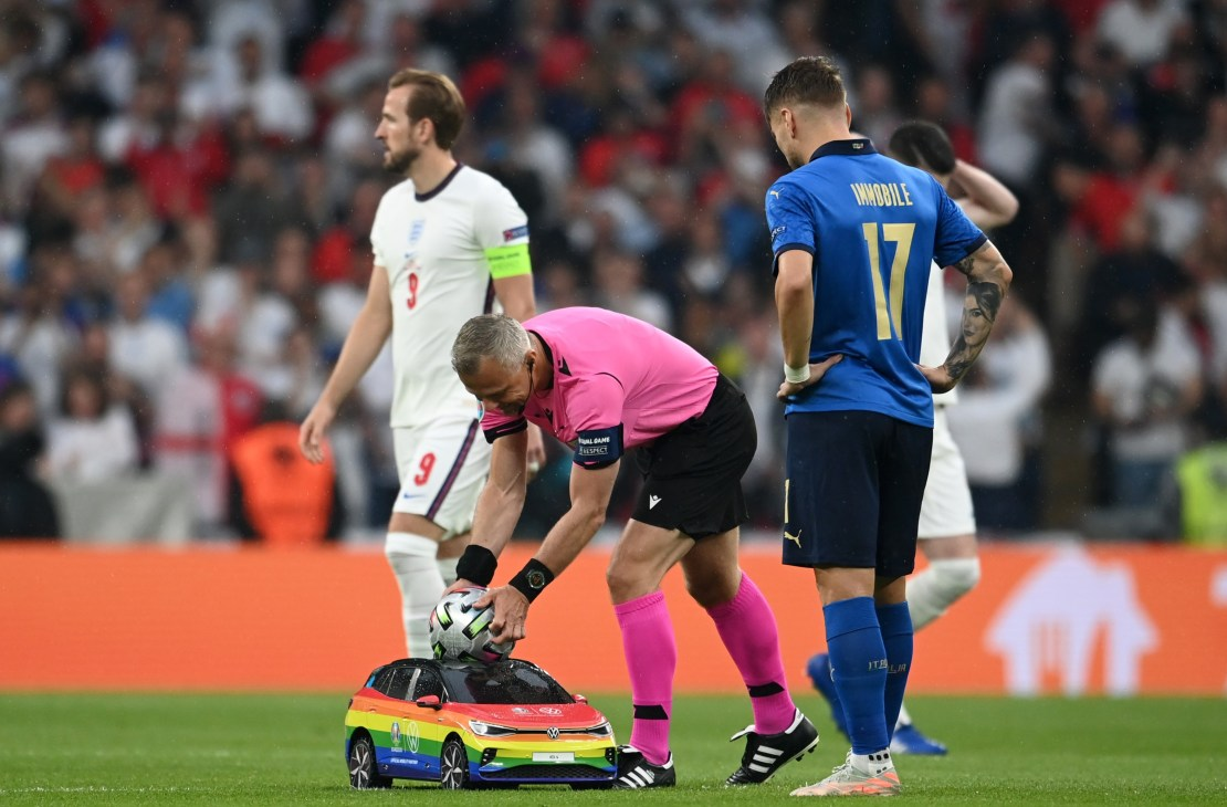 This is how the football was delivered to England's ultimately unsuccessful Euro 2020 final against Italy