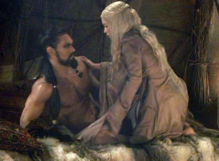 Emilia Clarke scoffed at Jason Mamoa's 'huge... pink' cover-up in Game of Thrones