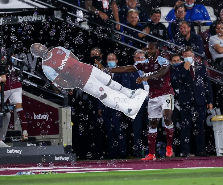 Michail Antonio celebrating with a life-size cardboard cutout of himself after becoming the record West Ham Premier League goal scorer is a MOOD | Premier League Review Matchday 2
