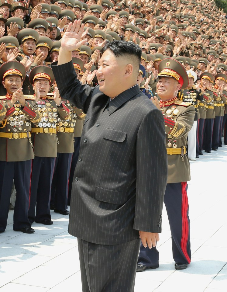 Kim Jong-un looked thinner than ever in a baggy pinstripe suit last month
