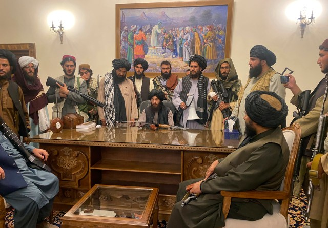 Taliban forces yesterday took over the Afghan presidential palace in a show of strength