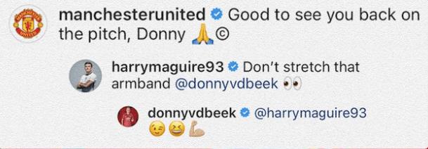 Harry Maguire referenced Donny van de Beek's body transformation