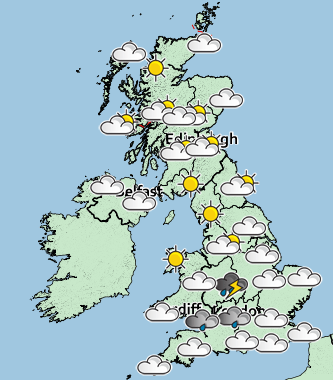 The weather outlook across the UK on Monday at 7pm