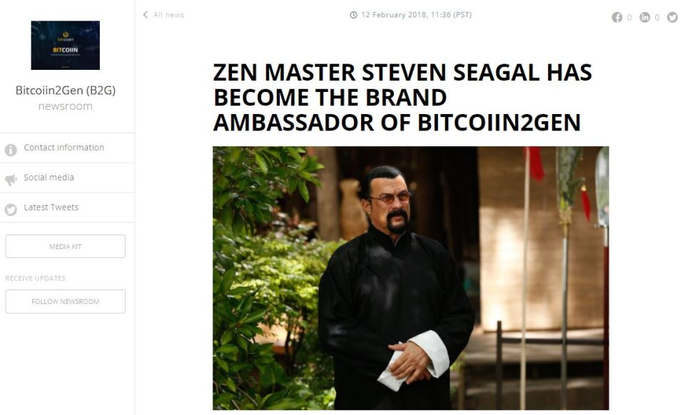 Press release still live on the B2G website announcing Seagal's endorsement on the coin