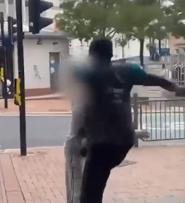 This is the moment a Poundland employee with one arm dragged a suspected shoplifter through a Sheffield store before launching into a flying karate kick