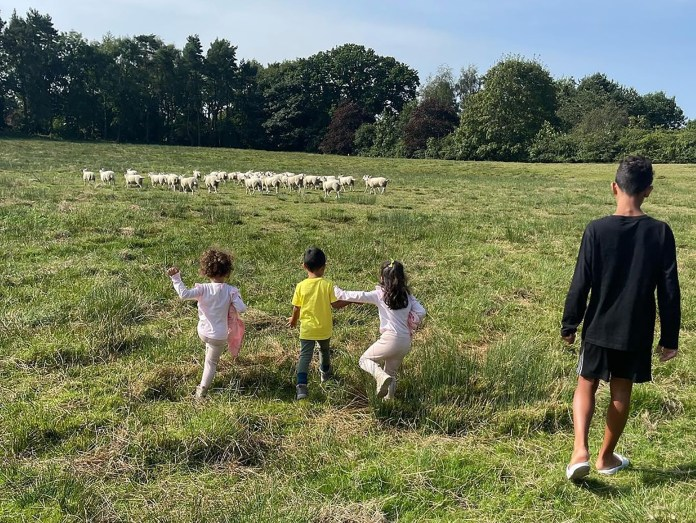 Georgina Rodriguez shared a photo of her little one enjoying the English countryside