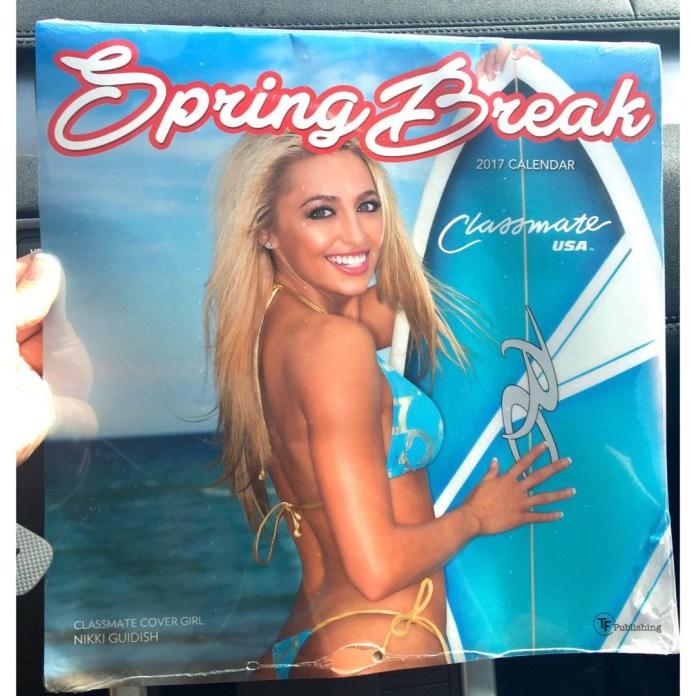 Calendar cover star Nikki posing for spring break