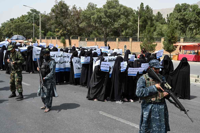 Women took part in a pro-Taliban rally last week