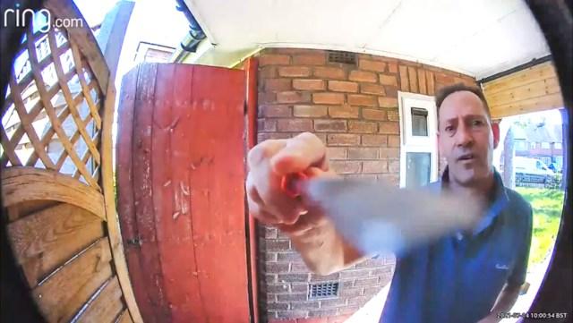 Neighbour Stephen Grove, 56, has been damaging the Ring camera on his next door's property