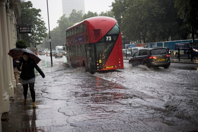 Londoners were braced for flooding yesterday