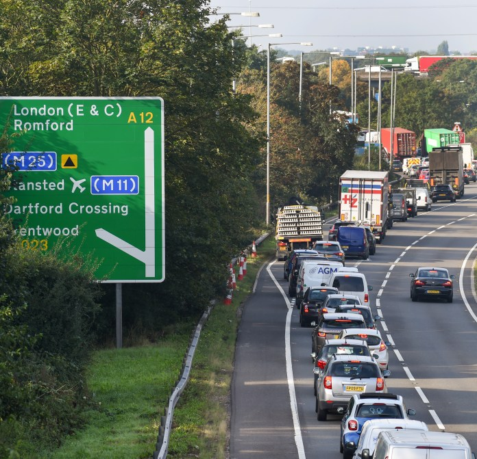 Traffic jam at junction 28 of the M25 with the A12 in Essex